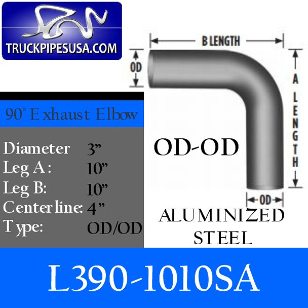 "3"" Exhaust Elbow 90 Degree 10"" x 10"" OD/OD ALUMINIZED L390-1010SA"