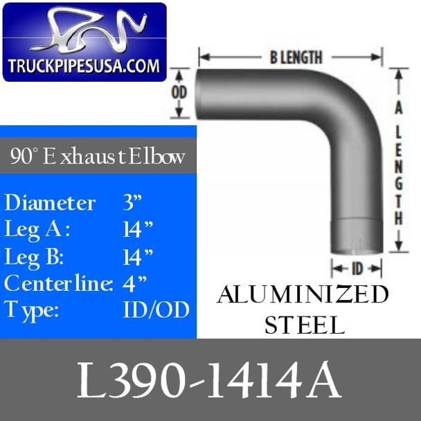 "3"" Exhaust Elbow 90 Degree 14"" x 14"" ID/OD ALUMINIZED L390-1414A"