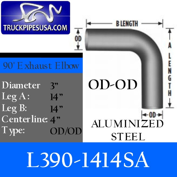 "3"" Exhaust Elbow 90 Degree 14"" x 14"" OD/OD ALUMINIZED L390-1414SA"
