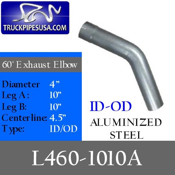 "4"" Exhaust Elbow 60 Degree 10"" x 10"" ALUMINIZED ID/OD L460-1010A"