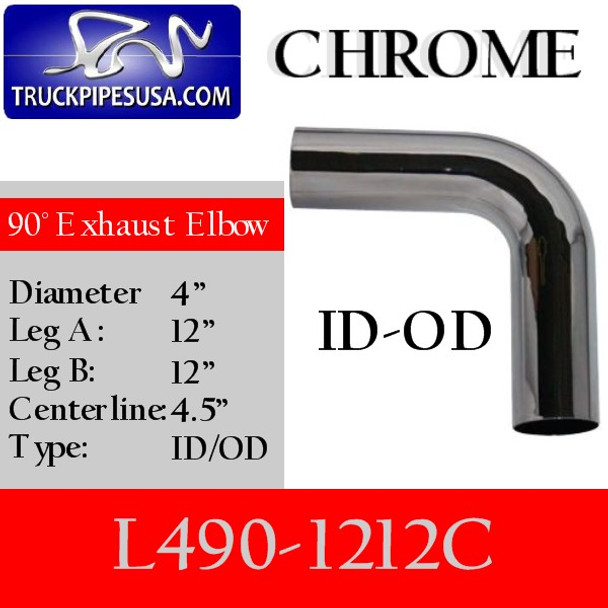 "4"" Exhaust Elbow 90 Degree 12"" x 12"" ID/OD CHROME L490-1212C"