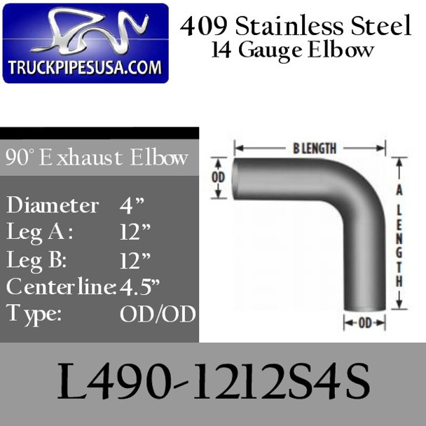 "4"" Exhaust Elbow 90 Degree 12"" x 12"" OD/OD 409 SS L490-1212S4S"
