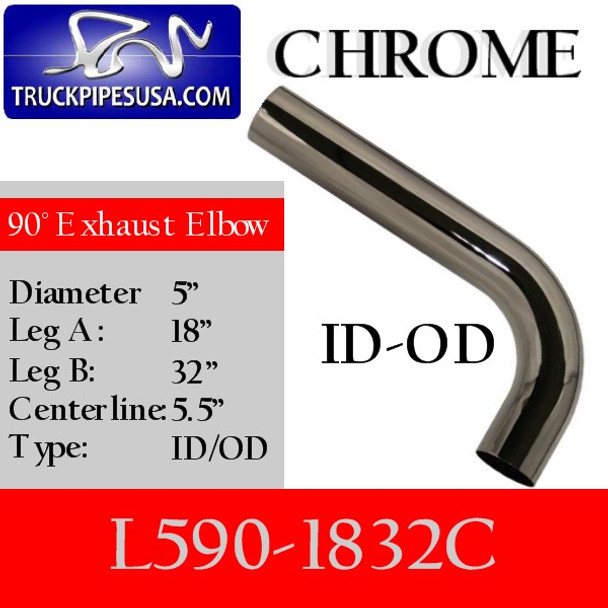 "5"" Exhaust Elbow 90 Degree 18"" x 32"" ID/OD CHROME L590-1832C"