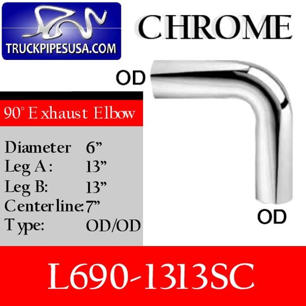 """6"""" Exhaust Elbow 90 Degree 13"""" x 13"""" OD/OD CHROME L690-1313SC"""