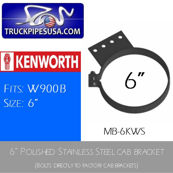 "6"" Kenworth Stack Mount Bracket Polished STAINLESS STEEL MB-6KWS"