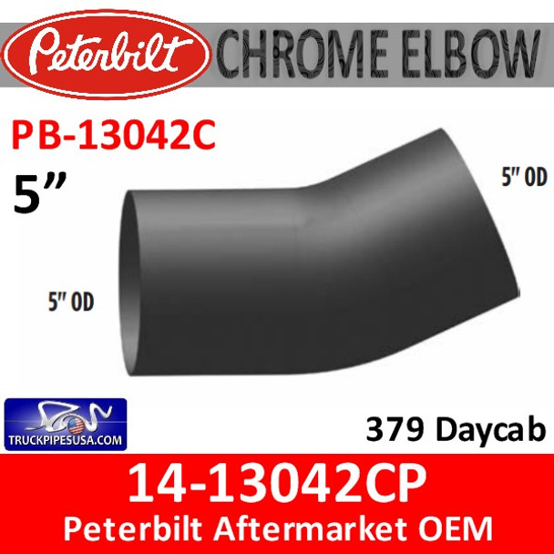 14-13042CP Peterbilt 379 Day cab CHROME Exhaust Elbow PB-13042C