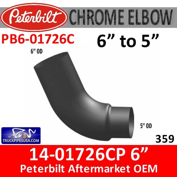 "14-01726 6"" to 5"" Peterbilt 379 CHROME Elbow PB6-01726C"