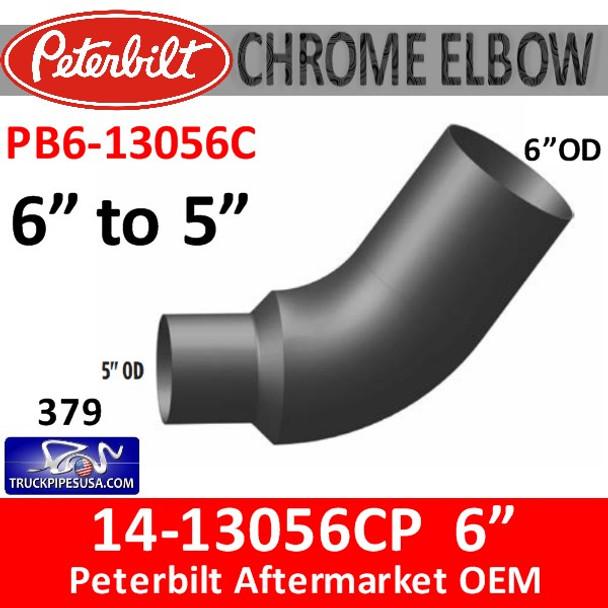 "14-13056 6"" OD to 5"" OD Peterbilt 379 CHROME Elbow PB6-13056C"