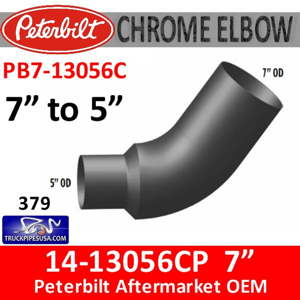 "14-13056 7"" OD to 5"" OD Peterbilt 379 CHROME Elbow PB7-13056C"