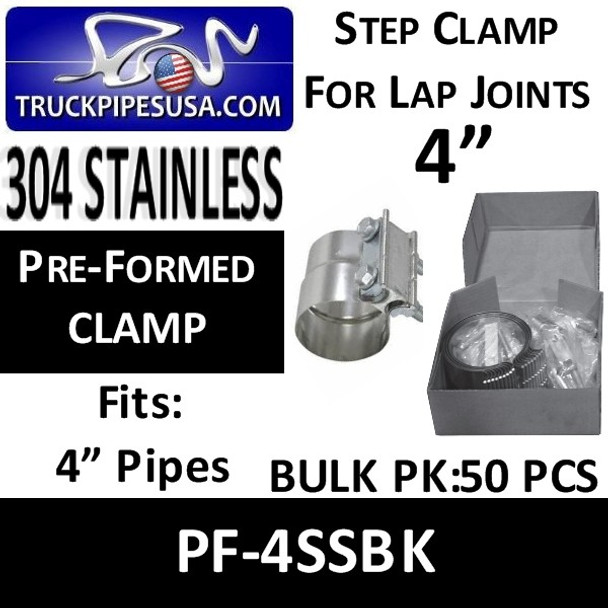 "4"" Preformed Exhaust Pipe Band Clamp STAINLESS STEEL 50 Pack PF-4SSBK"