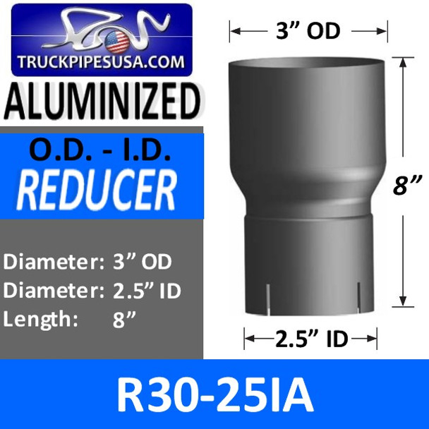 "3"" OD x 2.5"" ID Aluminized Exhaust Pipe Reducer R3O-25IA"