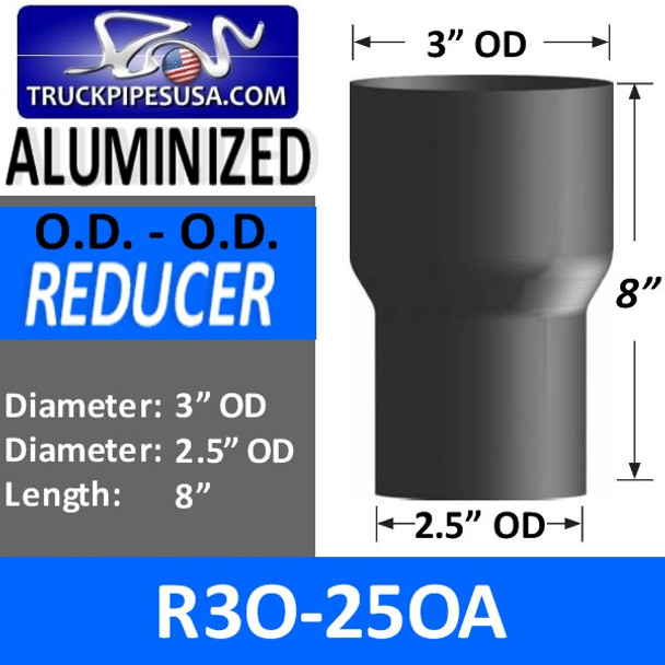 "3"" OD to 2.5"" OD Aluminized Exhaust Pipe Reducer R3O-25OA"