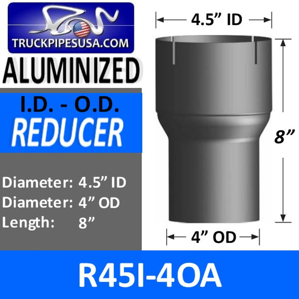 """4.5"""" ID to 4"""" OD Aluminized Exhaust Pipe Reducer R45I-4OA"""