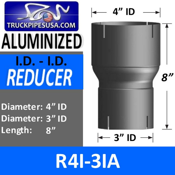 """4"""" ID to 3"""" ID Aluminized Exhaust Pipe Reducer R4I-3IA"""