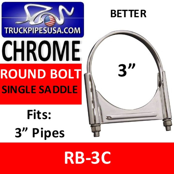 3'' Round Bolt Single Saddle Exhaust Clamp CHROME RB-3C