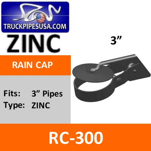 "3"" Straight Cut Exhaust Rain Cap ZINC PLATED RC-300"