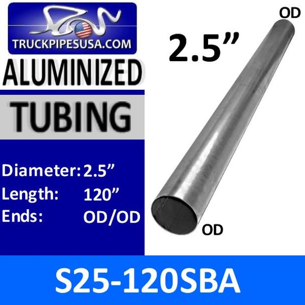 """2.5"""" x 120"""" Exhaust Tubing ALUMINIZED OD/OD S25-120SBA"""