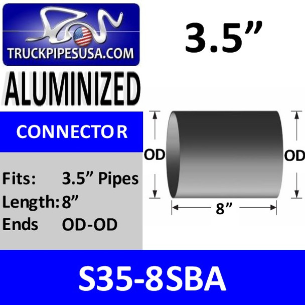 "3.5"" x 8"" Exhaust Connector OD/OD ALUMINIZED S35-8SBA"
