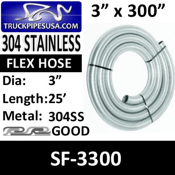 "3"" x 25 Foot .018 304 Flex Exhaust Hose 304 STAINLESS STEEL SF-3300"