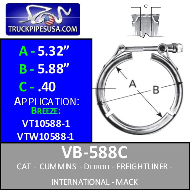 """VB-588C 5.88"""" Clamp Breeze VTW10588-1 & VT10588-1"""