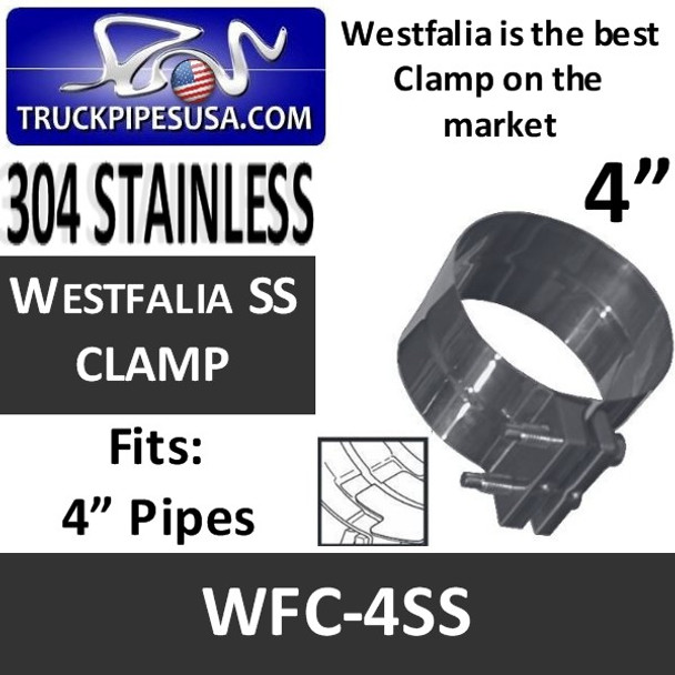 """4"""" Westfalia Exhaust Band Clamp 304 STAINLESS STEEL WFC-4SS"""