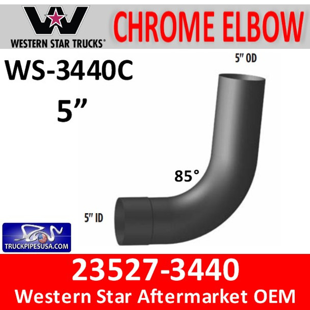 23527-3440 Western Star Exhaust Elbow CHROME WS-3440C