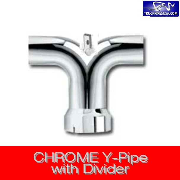 """5'' Y-Pipe Exhaust 14"""" x 25"""" with Plate CHROME Y-500C"""
