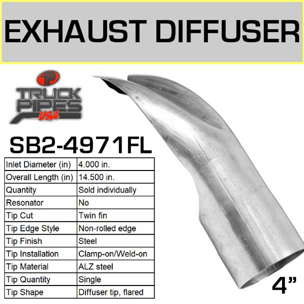 "SB2-4971FL Exhaust Diffuser Tip 4"" x 15"""