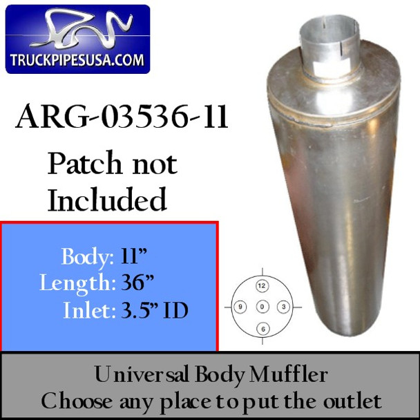 """11"""" Universal Muffler 3.5"""" ID End In and Out Muffler ARG-03536-11"""