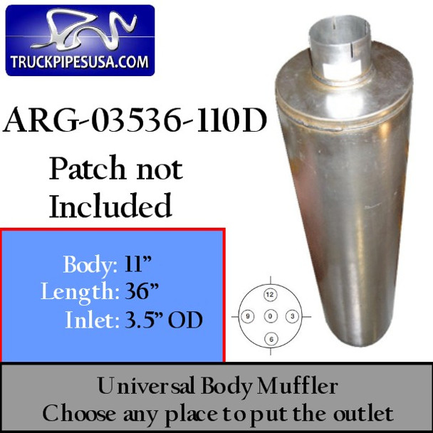 "11"" Universal Muffler 3.5"" OD End In and Out Muffler ARG-03536-11OD"