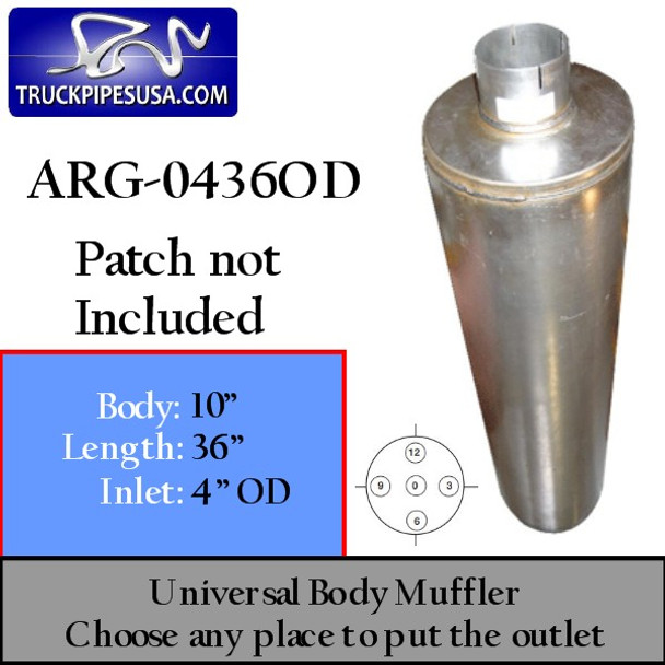 "10"" x 36"" Universal Muffler with 4"" OD on 1 End ARG-0436OD"