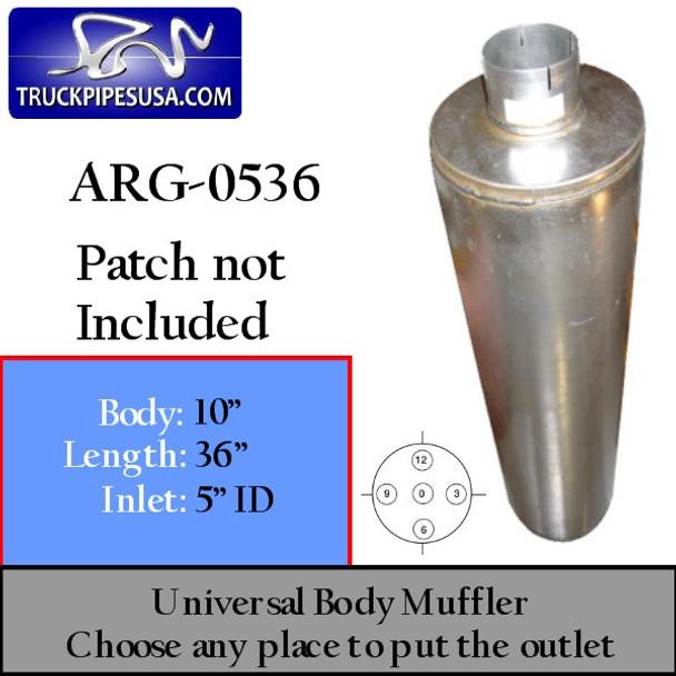"10"" Universal Round 36"" Muffler with one 5"" ID ARG-0536"
