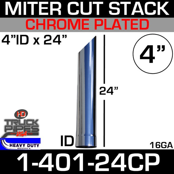 """4"""" x 24"""" Miter Cut Chrome Stack Pipe ID End SP140024PL"""