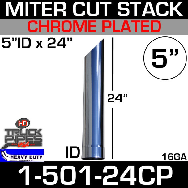 "5"" x 24"" Stack Pipe ID End - Chrome Miter-Angle Cut 1-501-24CP"