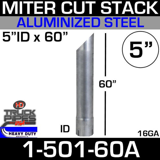 """5"""" x 60"""" Stack Pipe ID End - Aluminized Miter-Angle Cut"""