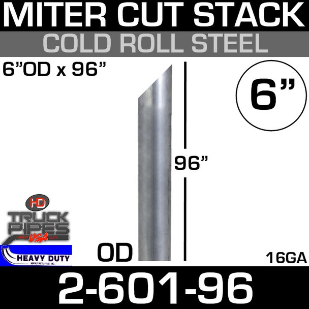"""6"""" x 96"""" Stack Pipe OD End - Steel Miter/Angle Cut 2-601-96"""