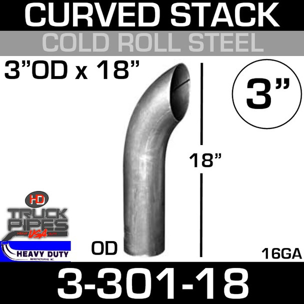 """3"""" x 18"""" Curved Stack Pipe OD End - Steel 3-301-18"""