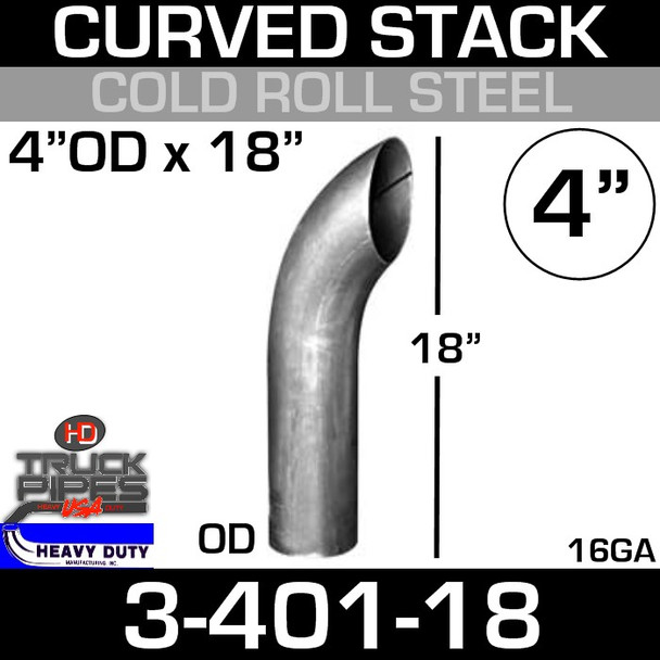 "4"" x 16"" Curved Stack Pipe OD End - Steel 3-401-18"