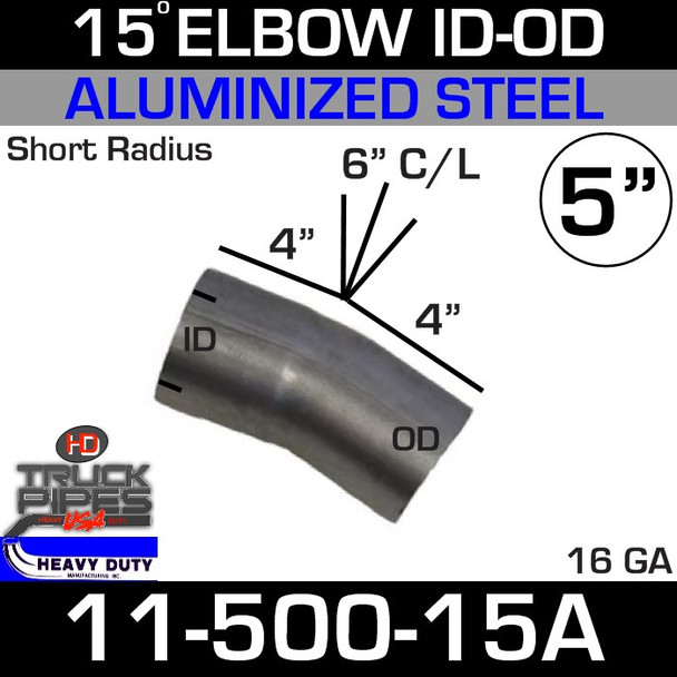 "15 Degree Exhaust Elbow 5"" x 4"" Legs ID-OD Aluminized 11-500-15A"