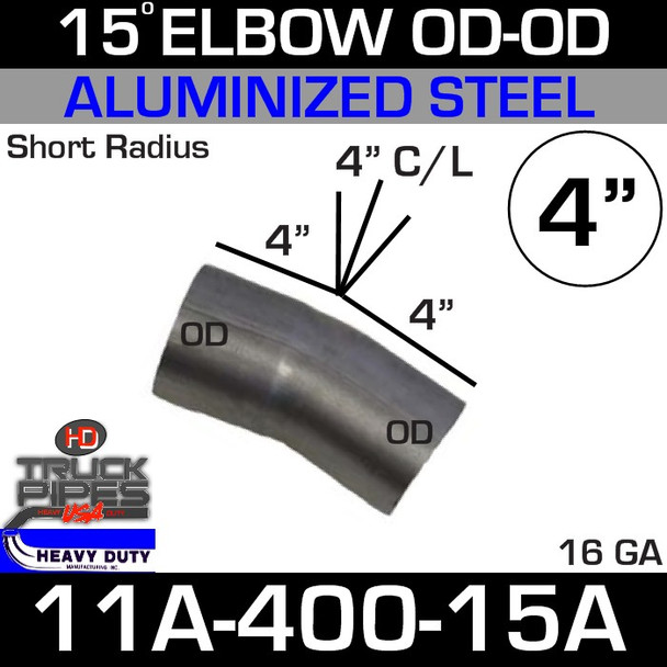 "15 Degree Short Radius Exhaust Elbow 4"" x 4"" Legs OD-OD ALZ 11A-400-15A"