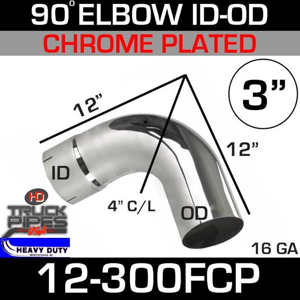 "90 Degree Exhaust Elbow 3"" x 12"" ID-OD Chrome 12-300FCP"