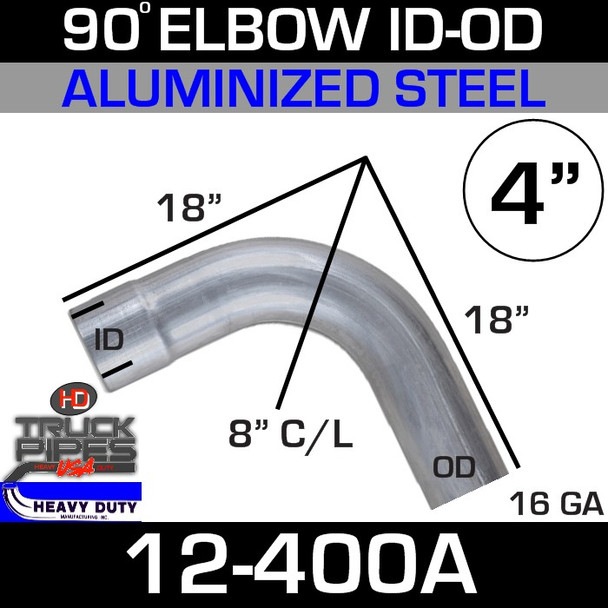 "90 Degree Exhaust Elbow 4"" x 18"" ID-OD Aluminized"