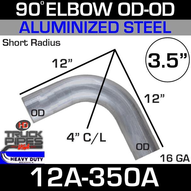 "90 Degree Short Radius Exhaust Elbow 3.5"" x 12"" OD-OD Aluminized 12A-350A"