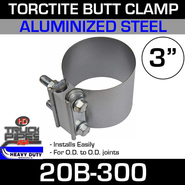 "3"" Band Clamp - Aluminized Preformed Butt Joint 20B-300"