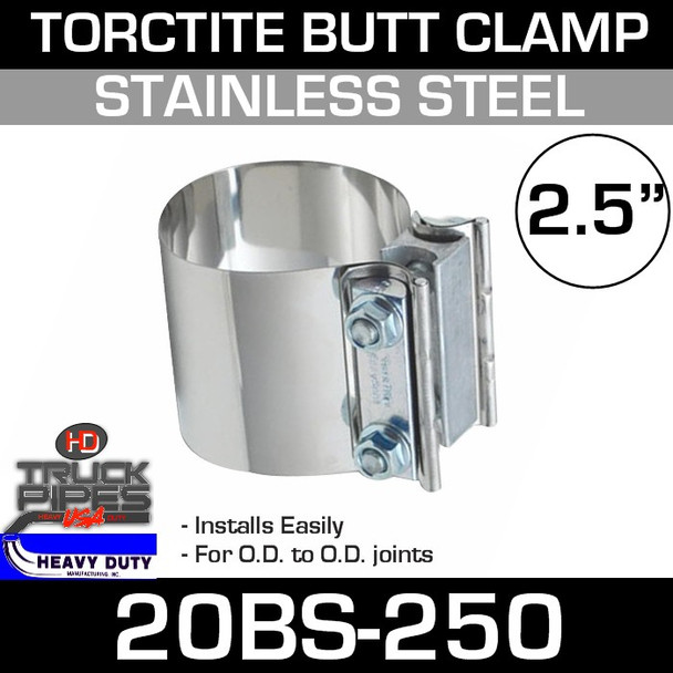 """2.5"""" Band Clamp - Stainless Steel Preformed Butt Joint 20BS-250"""