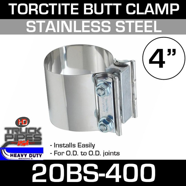 "4"" Band Clamp - Stainless Steel Preformed Butt Joint 20BS-400"