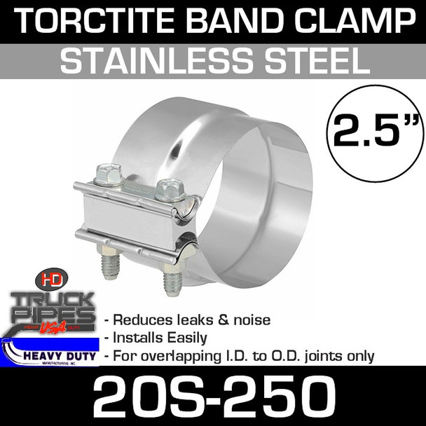 """2.5"""" Band Clamp - Stainless Steel Preformed Clamp 20S-250"""