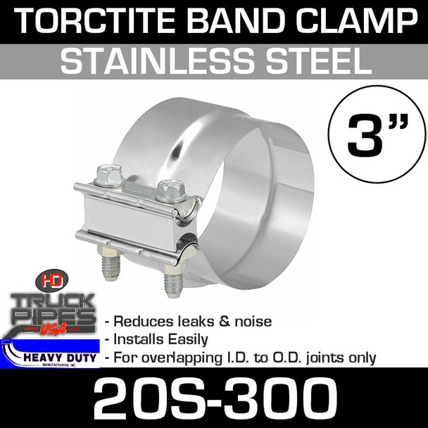 """3"""" Band Stainless Steel Preformed Clamp TTS300"""