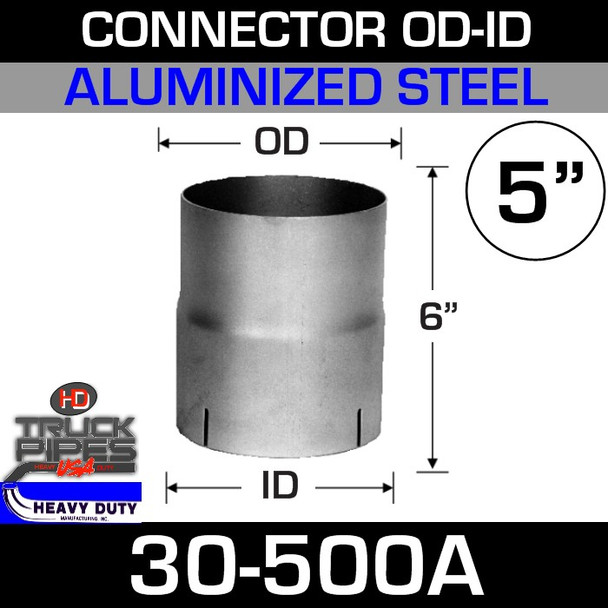"""5"""" Exhaust Connector ID-OD Aluminized 5"""" Long"""