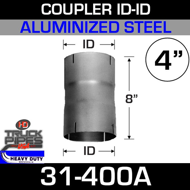 "4"" Exhaust Connector ID-ID Aluminized 8"" Tall 31-400A"